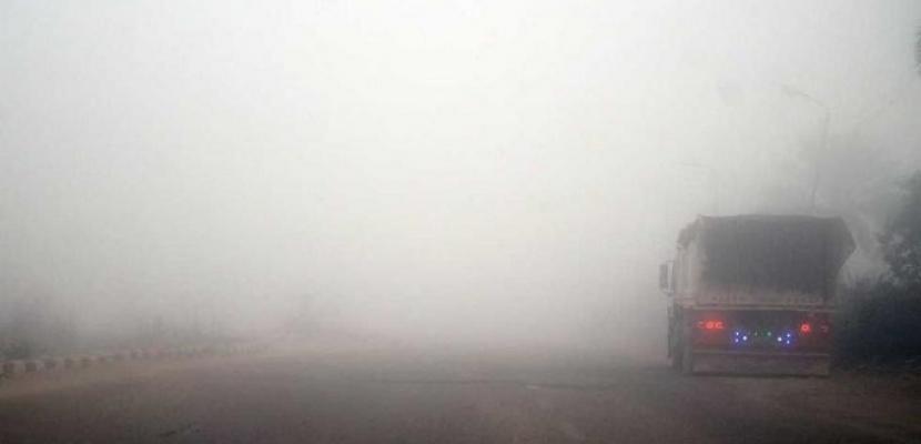 غلق طريق العلمين الصحراوي بسبب الشبورة